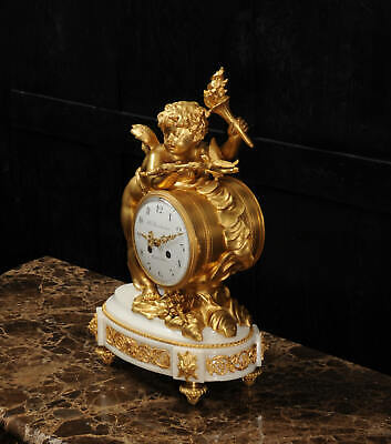 Superb Antique French Ormolu And White Marble Clock - Cupid 8