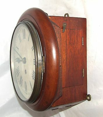 # Antique  rare 8 inch Dial CHAIN Fusee Mahogany Wall School Clock c1900 6