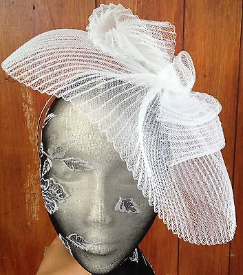 White fascinator millinery burlesque wedding hat hair piece ascot race bridal x 2