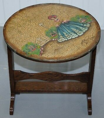Rare English Oak Tilt Top Side Table With Hand Painted Picture Glass Case Lovely 2