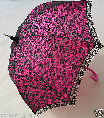 Retro Victorian Lace Bridal/Wedding Umbrella  Parasol In Fuchsia/Pink 4