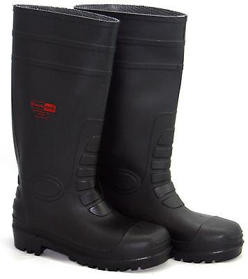 c84c553de0e BLACKROCK BLACK SAFETY Wellington Wellies Work Boots Steel Toe Cap Plus  Midsole