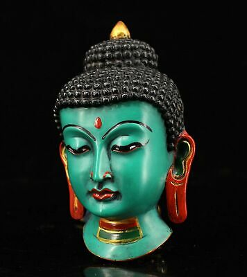 Collectable China Antique Paint Buddha Head Moral Auspicious Lacquerware Statue 2