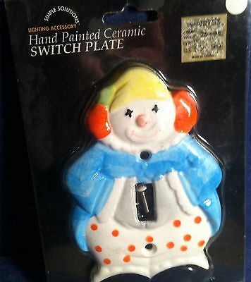 Vintage ceramic hand painted circus clown light switch cover plate 2