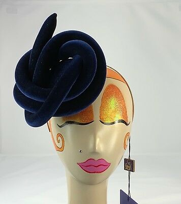 1dd86bf6b9340 ... NWT Philip Treacy Navy Velour Fascinator 7