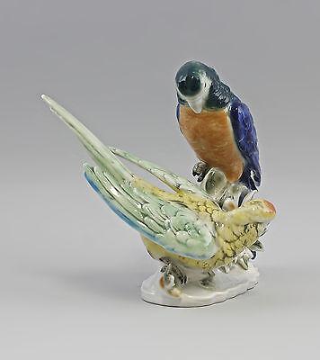 Porzellanfigur Papagei-Gruppe grün/blau Wagner&Apel 21x16x21cm 42635