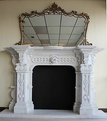 Hand Carved Carerra Marble Country French Monumental Fireplace Mantel Columns 8