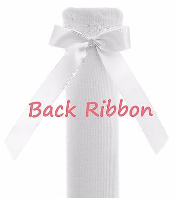 Baby Girls & Girls Pex Knee High Satin Ribbon Bow Socks UK NB(EU15)-7(EU40) 2