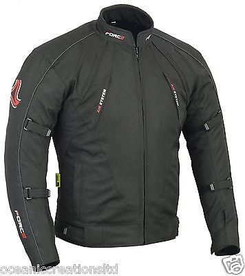 Mens Motorcycle Motorbike Jacket Waterproof Textile Cordura Black CE Armoured