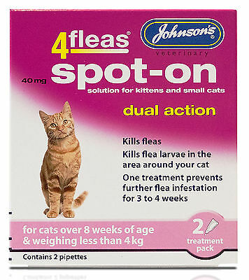 Johnson's 4Fleas Dual Action Spot On For Cats & Kittens For Cats Less Than 4kg 3