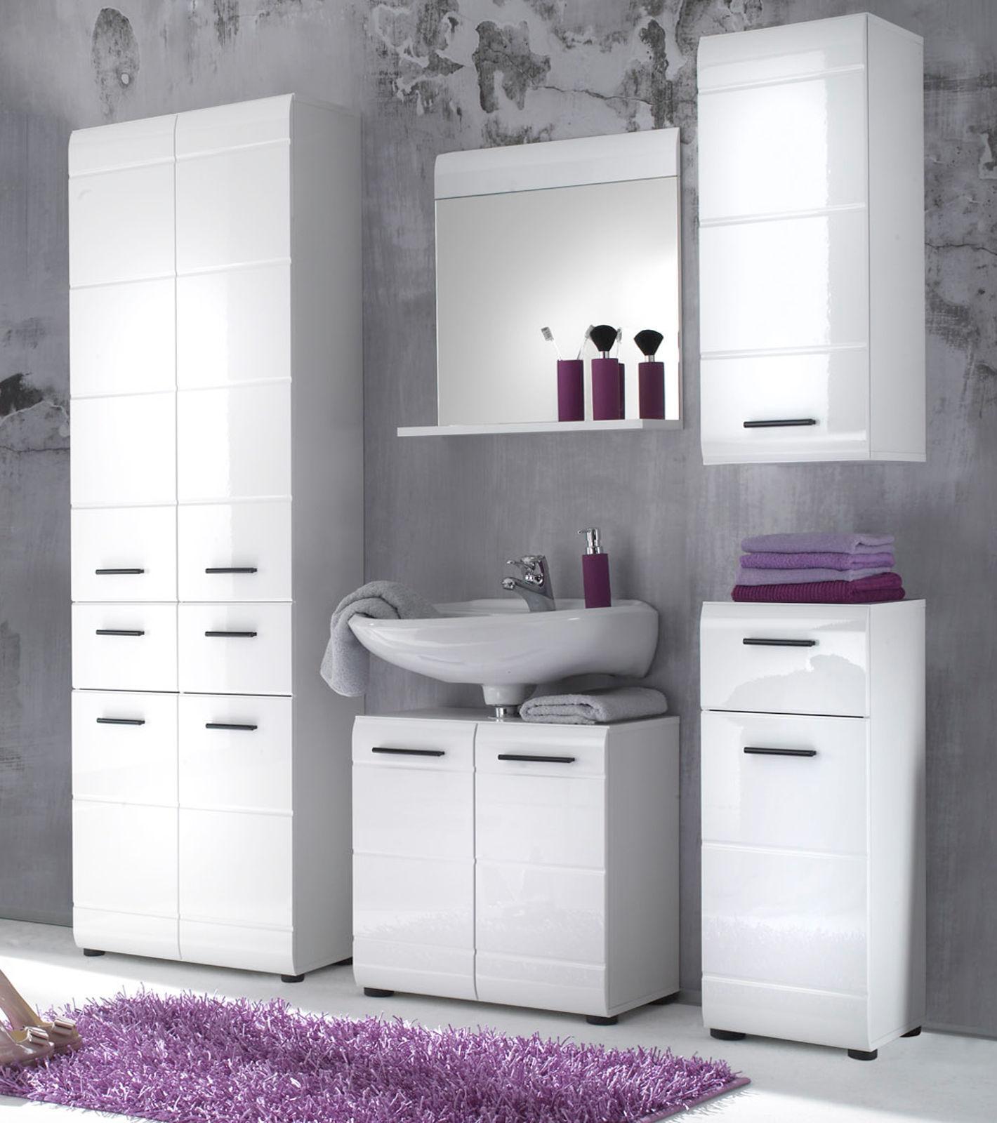 BAD STAURAUM SCHRANK Badezimmer Hochschrank groß weiß Hochglanz 60x182 cm  Skin