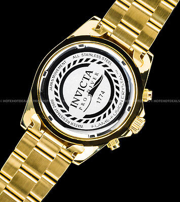 Invicta Mens Pro Diver Chronograph Champagne Dial 18K Gold Plated SS 200MT Watch 7