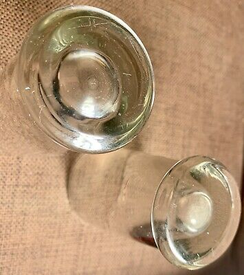 2 X Hand Blown Clear Glass Tumblers / Beakers - Heavy Base , Bubble Inclusions 5