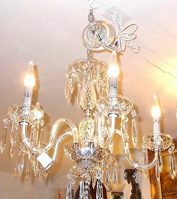 Antique Maria Theresa Crystal Prism 5 Arm Chandelier from Boston Archit Salvage 2