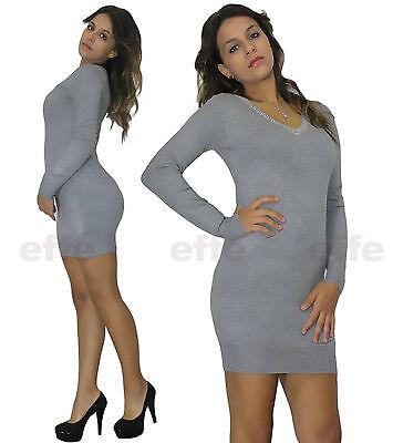 ... Miniabito donna maglione Maxipull vestito abito maxi maglia Scollo a V  borchie 4 d965df623c3