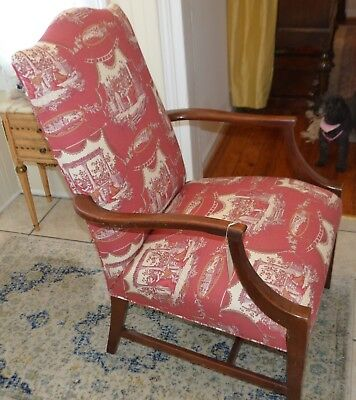 Vintage Martha Washington Arm Chair in Red Toile Stanley Chair Co. 4