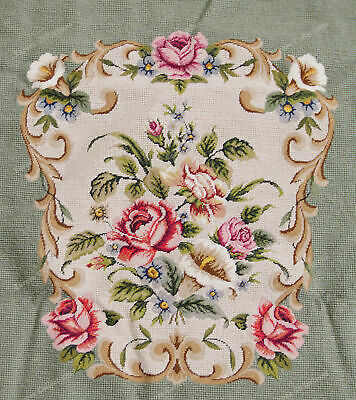 Light Olive Victorian Blooming Roses VTG Reproduction Chair Sofa Cover Sets 10