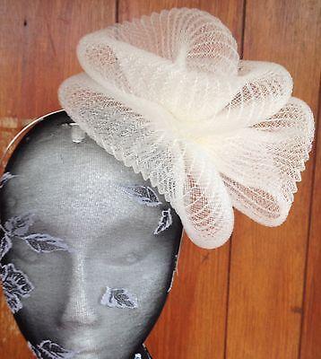 Ivory fascinator millinery burlesque wedding hat hair piece ascot race bridal 2