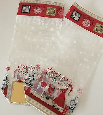 Pack Of 6 Christmas Cellophane Treat Bags With Card Bottom