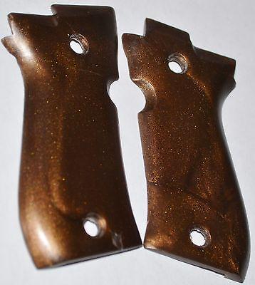 BERETTA 84 CHEETAH pistol grips smooth dark brown plastic