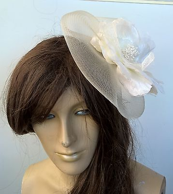 ivory satin flower fascinator millinery burlesque wedding hat bridal race x 3