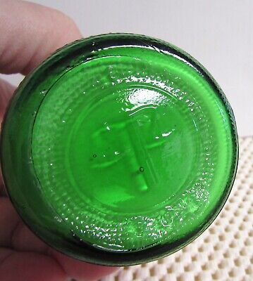 VINTAGE APOTHECARY MEDICAL McKESSON BORIC ACID GREEN BOTTLE w/ORIG. PAPER LABEL 4