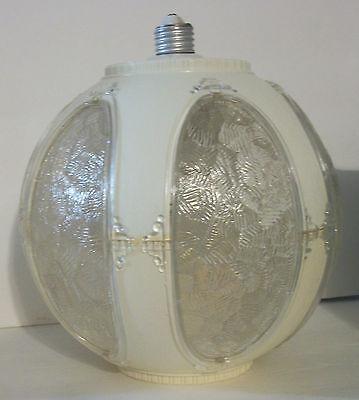 Vtg Retro Ceiling Lamp Light Fixture Lucite Globe Shade Round Porcelain Socket 2