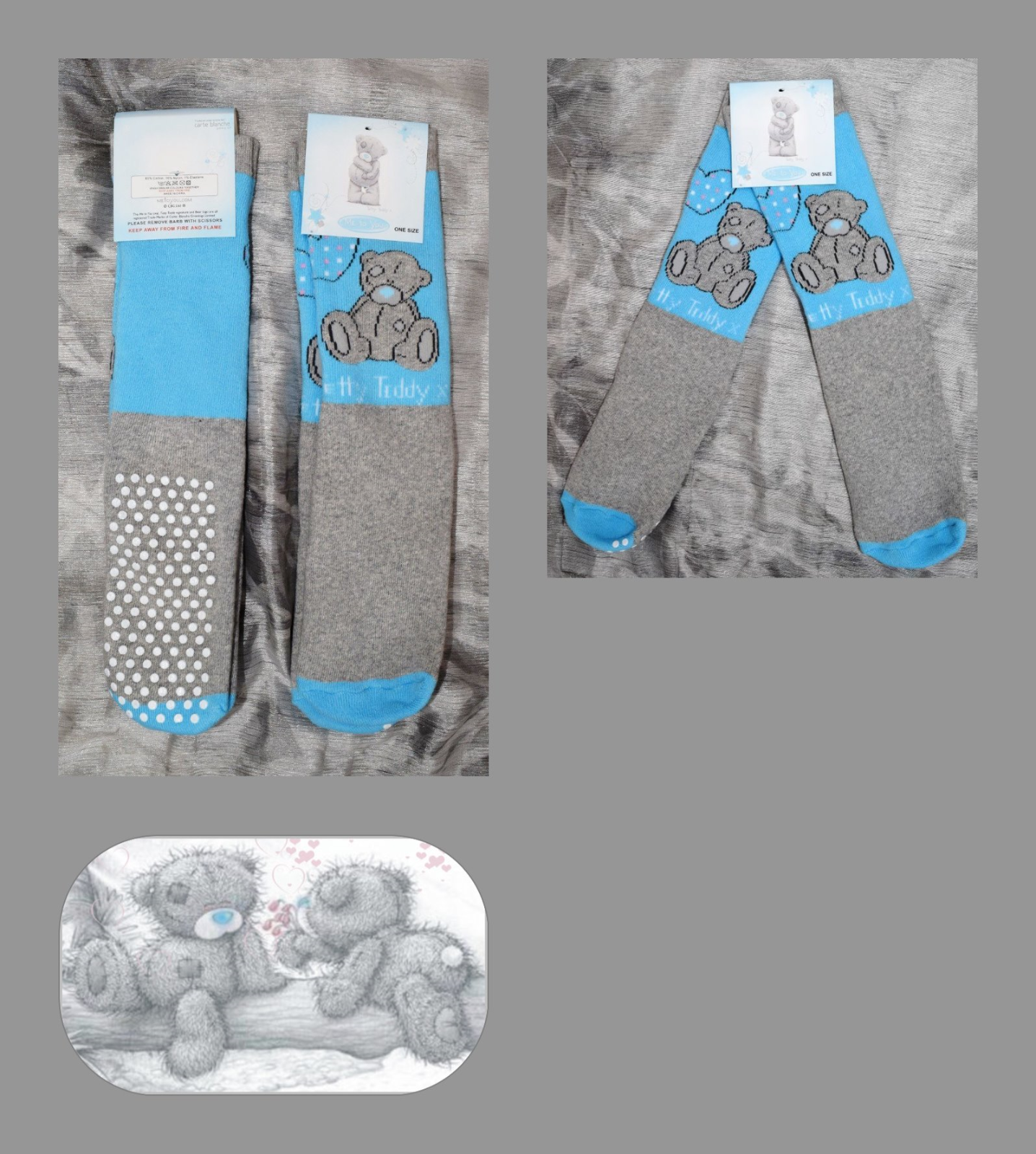 Me To You Tatty Teddy Slipper Socks Age 5-7 Years Blue/Grey (One Size) Bnwt 3