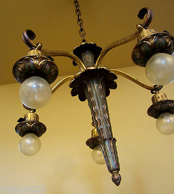 Vintage Lighting antique pair 1930s green gold chandeliers   High Quality 2