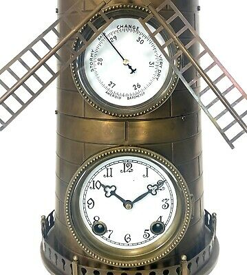"""32"""" Tall Large French Style 8 Day Brass Automaton Windmill Industrial Clock 7"""