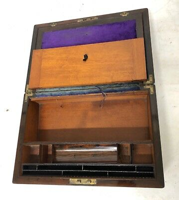 Antique Rosewood & Mother of Pearl Inlaid Writing Box / Slope for Restoration 12