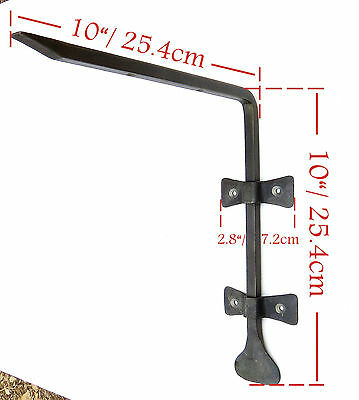 """2 HAND FORGED 10"""" SHELF BRACKETS WROUGHT IRON Country Antique Wall Decor Holder 2 • CAD $62.79"""