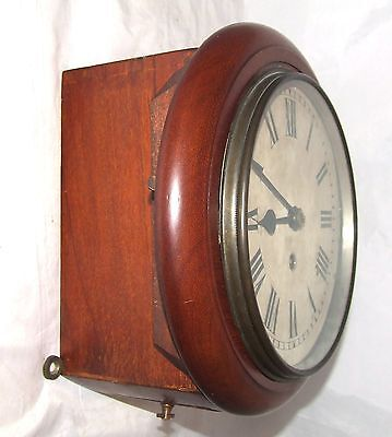 Antique Style Small 8 inch Dial CHAIN Fusee Mahogany Wall School Clock c1920 5