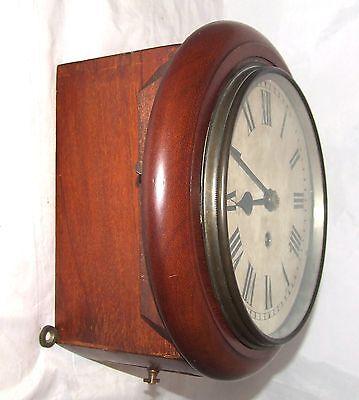 # Antique  rare 8 inch Dial CHAIN Fusee Mahogany Wall School Clock c1900 5
