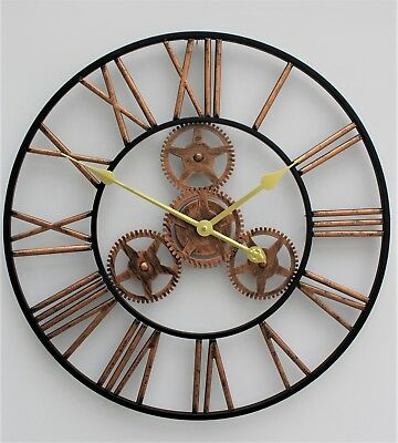Large Metal Skeleton Wall Clock Antique gold Home Decor Round 58cm Indoor & Out 12