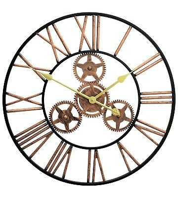 Large Metal Skeleton Wall Clock Antique gold Home Decor Round 58cm Indoor & Out 4