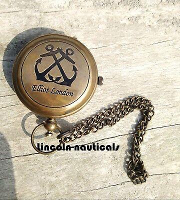 Antique Brass Push Button Watch Elliot London Vintage Working Watch. 2
