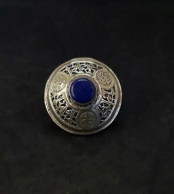 wounderful Afghan silver plated ring with stunning lapis lazuli stone # Z6 5