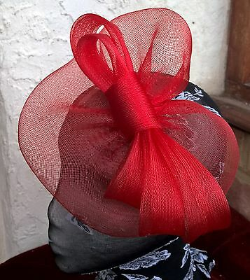 bright red fascinator millinery burlesque wedding hat ascot race bridal 1 3