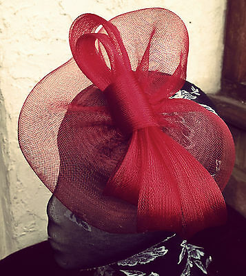 dark red maroon fascinator millinery burlesque wedding hat ascot race bridal 2