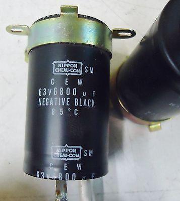 2 NIPPON CHEMI-COM CEW 63V 6800uF NEGATIVE BLACK 85 DEG. C.