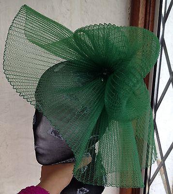 Green fascinator millinery burlesque wedding hat hair piece ascot race bridal 2