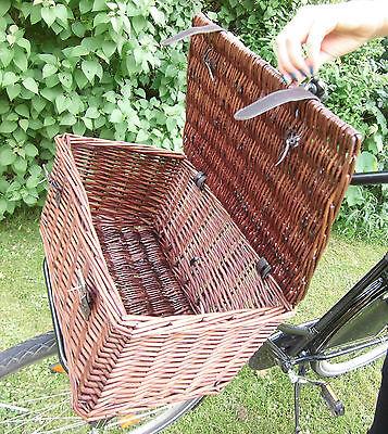 retro fahrradkorb weidenkorb b ckerkorb rattan korb mit deckel und zwei gurte eur 32 90. Black Bedroom Furniture Sets. Home Design Ideas