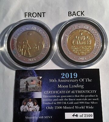"""2019 """"50th Anniversary Of The Moon Landing"""" 43 mm Coin, Limited to 2500 C.O.A 2"""