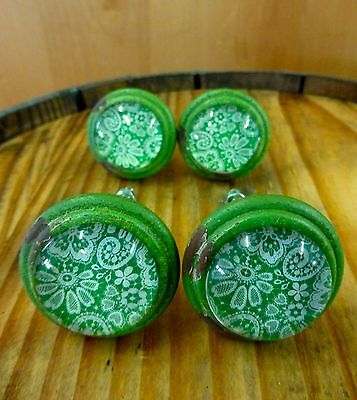 4 GREEN-WHITE LACE GLASS DRAWER CABINET PULLS KNOBS VINTAGE DISTRESSED hardware 3