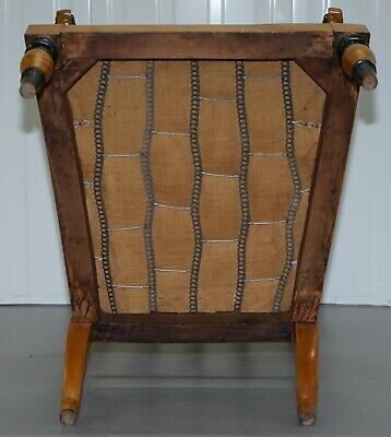 Antique Satin Birch Wood Swedish Biedermeier Library Reading Armchair Ebonished 12