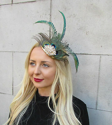 Gold Green Peacock Statement Feather Fascinator Pillbox Races Hat Ascot Vtg 2299 3