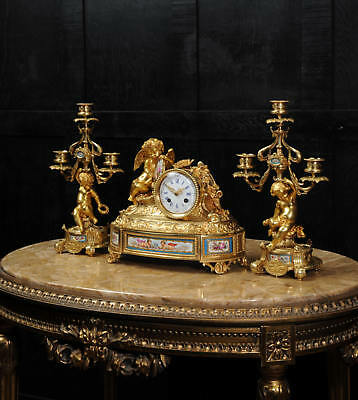 Japy Freres ~ Early French Ormolu And Sevres Porcelain Clock Set C1850 ~ Cherubs 2