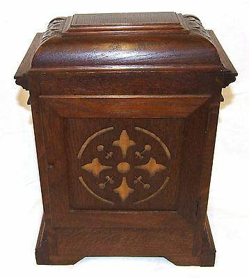 Antique LENZKIRCH Carved Oak Bracket Clock : CLEANED AND SERVICED 9