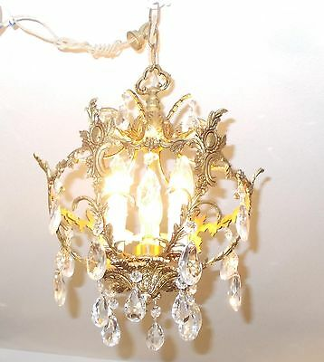 Antique Spanish Brass Orb w/Fancy Faceted Crystals [Mid-West Salvage] 8